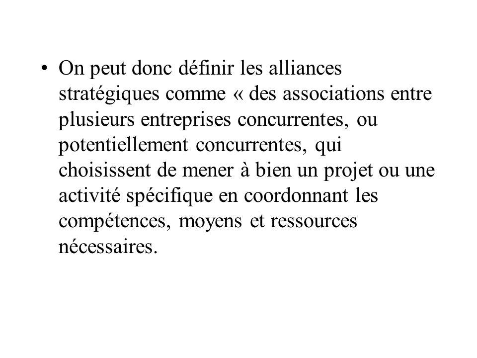 -C- Les alliances de pseudo-concentration Elles associent des entreprises qui développent, produisent et commercialisent un produit commun.