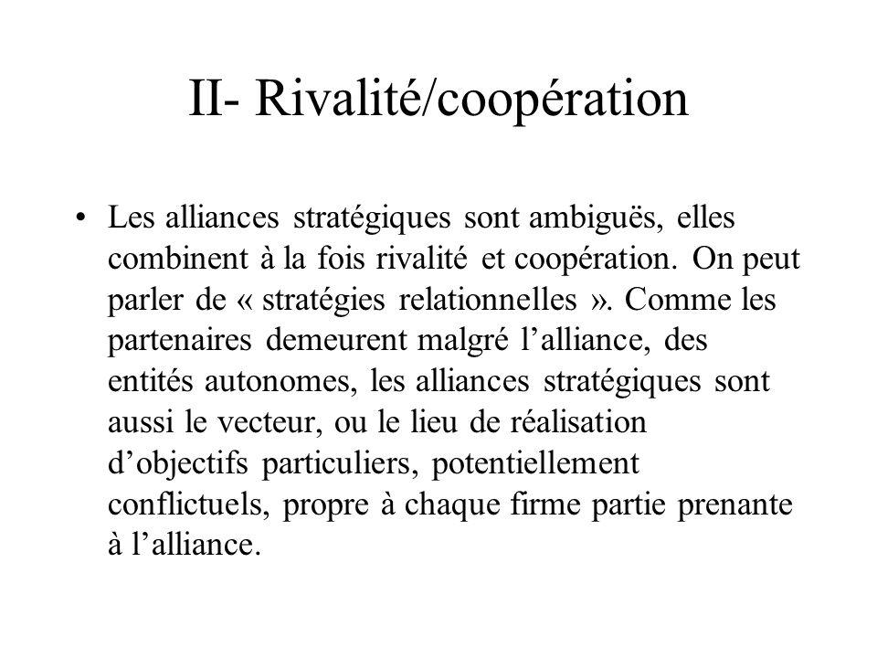 II- Rivalité/coopération Les alliances stratégiques sont ambiguës, elles combinent à la fois rivalité et coopération.