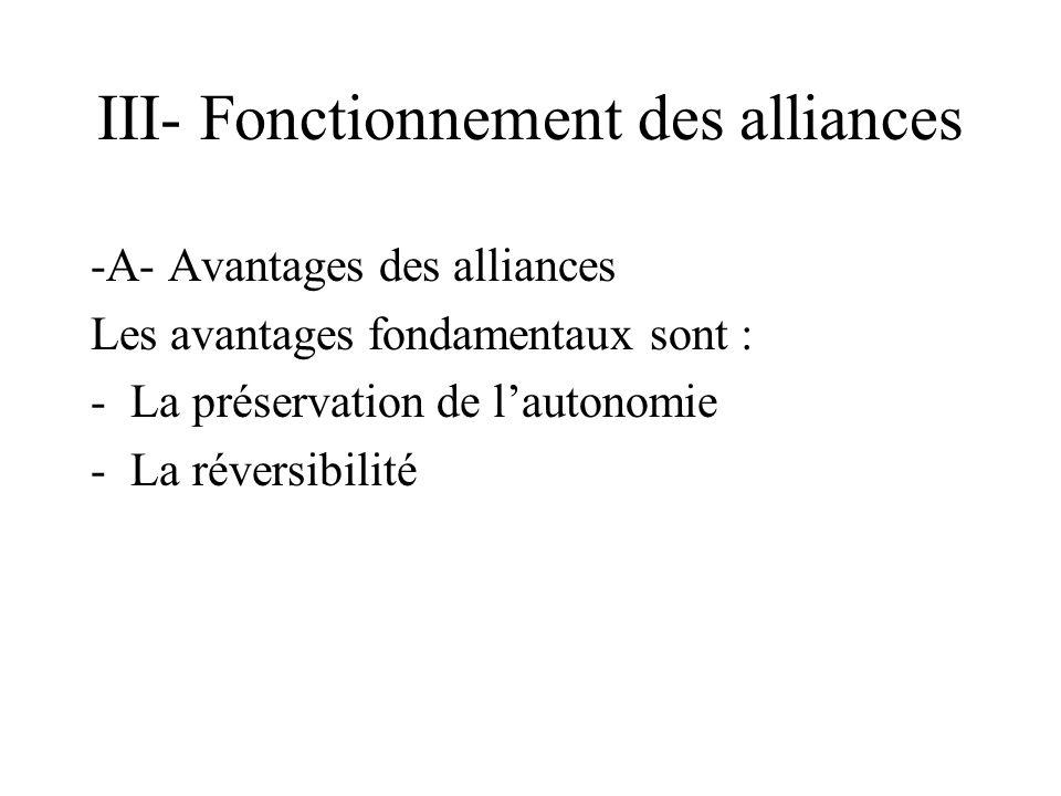 III- Fonctionnement des alliances -A- Avantages des alliances Les avantages fondamentaux sont : -La préservation de lautonomie -La réversibilité
