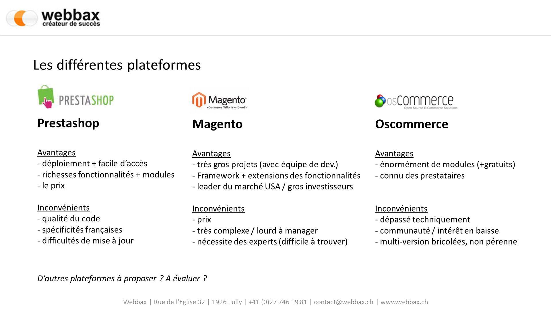 Webbax | Rue de lEglise 32 | 1926 Fully | +41 (0)27 746 19 81 | contact@webbax.ch | www.webbax.ch Prestashop Informations générales - Prestashop a été crée en France par des étudiants à Epitech (Bruno Lévêque) - Open-source - Permet de lancer son activité sur internet pour 0.- - Vite déployé et facile à prendre en main - Enormément de ressources, modules, thèmes (en payant ou gratuit) - Communauté française importante (voir forum de Prestashop) - 90000 boutiques dans le monde et dans tous les pays -Déploiement de leur solution aux USA - levée de fond de 3M auprès dinvestisseurs Effectuer une visite du site : www.prestashop.comwww.prestashop.com