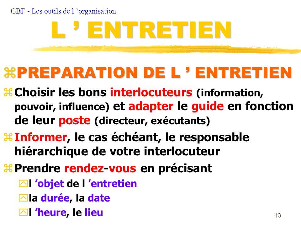 13 zPREPARATION DE L ENTRETIEN zChoisir les bons interlocuteurs (information, pouvoir, influence) et adapter le guide en fonction de leur poste (direc