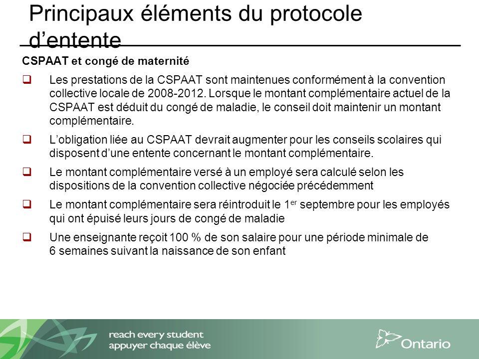 Principaux éléments du protocole dentente CSPAAT et congé de maternité Les prestations de la CSPAAT sont maintenues conformément à la convention collective locale de 2008-2012.