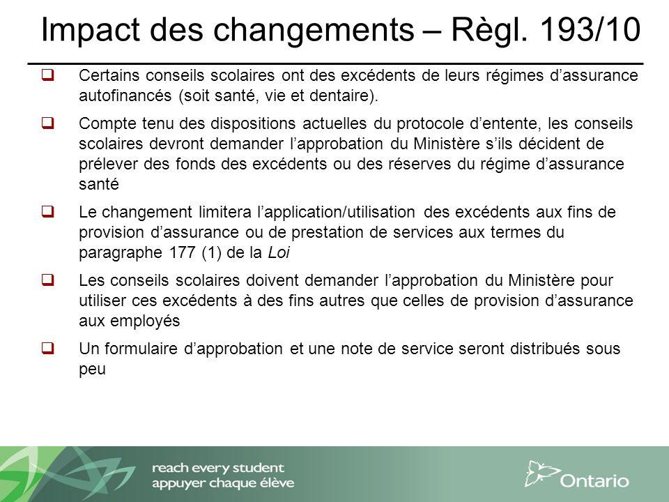 Impact des changements – Règl.