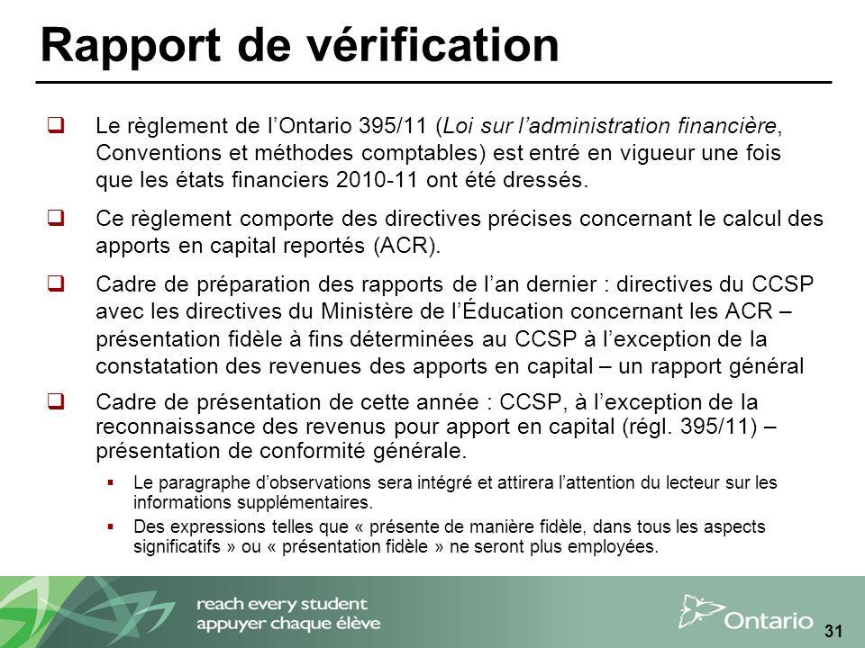 31 Rapport de vérification Le règlement de lOntario 395/11 (Loi sur ladministration financière, Conventions et méthodes comptables) est entré en vigueur une fois que les états financiers 2010-11 ont été dressés.