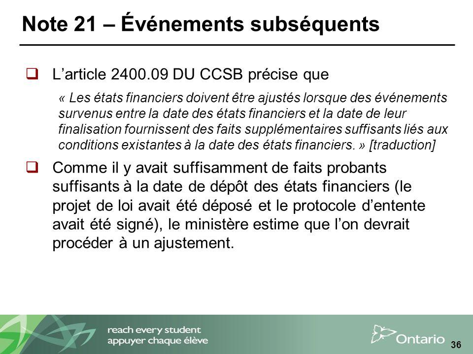 Note 21 – Événements subséquents Larticle 2400.09 DU CCSB précise que « Les états financiers doivent être ajustés lorsque des événements survenus entre la date des états financiers et la date de leur finalisation fournissent des faits supplémentaires suffisants liés aux conditions existantes à la date des états financiers.