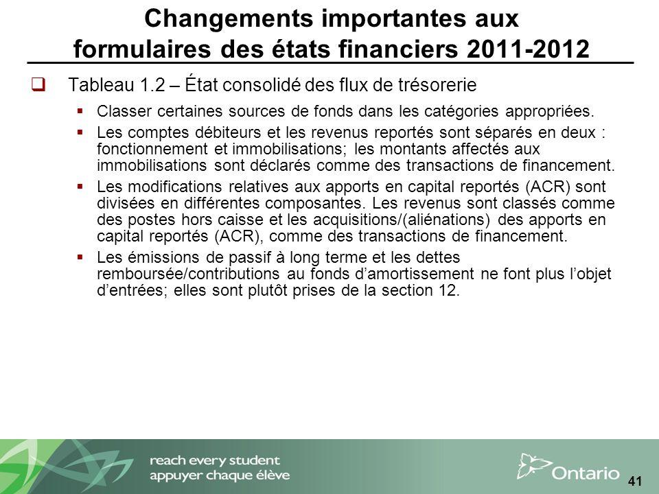 41 Changements importantes aux formulaires des états financiers 2011-2012 Tableau 1.2 – État consolidé des flux de trésorerie Classer certaines sources de fonds dans les catégories appropriées.