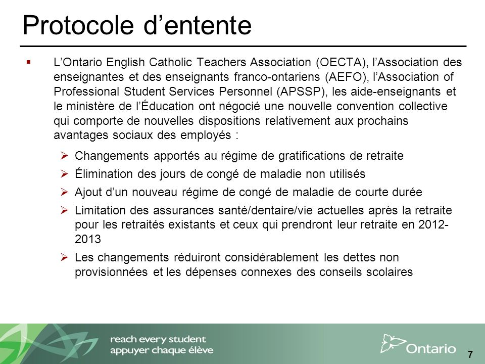 Protocole dentente LOntario English Catholic Teachers Association (OECTA), lAssociation des enseignantes et des enseignants franco-ontariens (AEFO), l