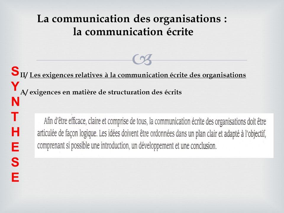 La communication des organisations : la communication écrite II/ Les exigences relatives à la communication écrite des organisations A/ exigences en m