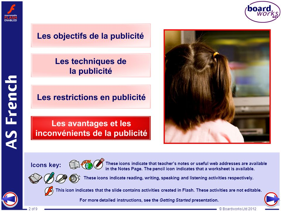 © Boardworks Ltd 20122 of 9 Les avantages et les inconvénients de la publicité This icon indicates that the slide contains activities created in Flash