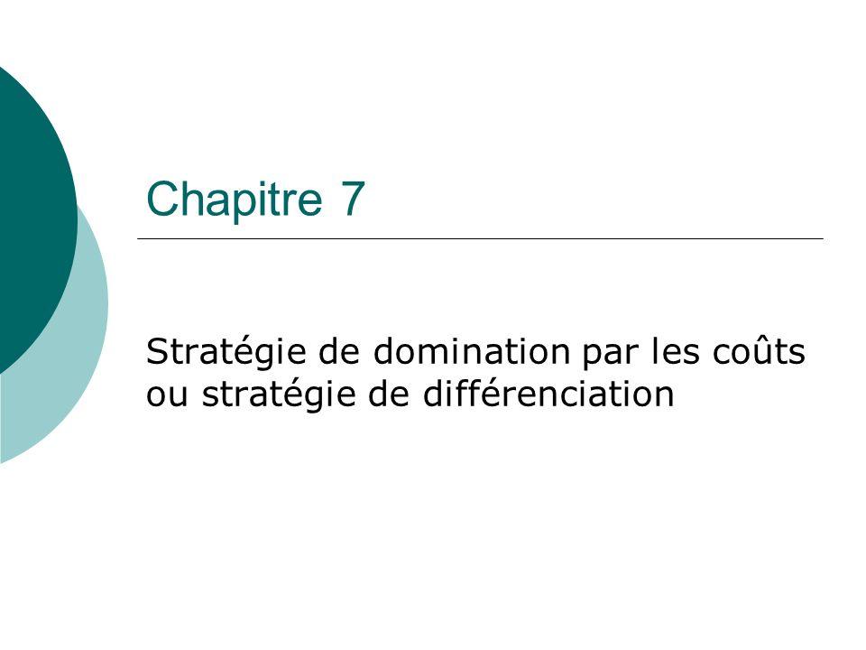Chapitre 7 Stratégie de domination par les coûts ou stratégie de différenciation