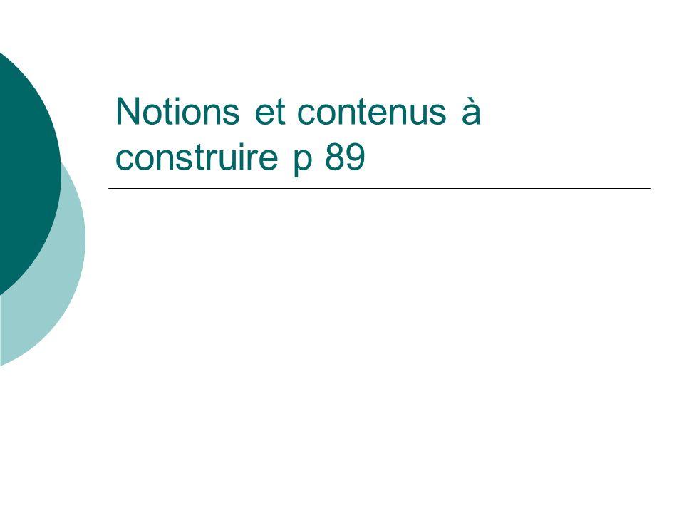 Notions et contenus à construire p 89