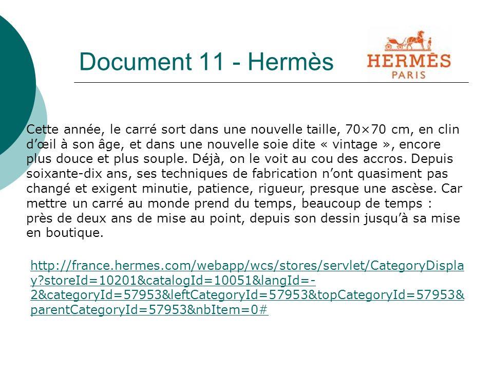 Document 11 - Hermès Cette année, le carré sort dans une nouvelle taille, 70×70 cm, en clin dœil à son âge, et dans une nouvelle soie dite « vintage », encore plus douce et plus souple.