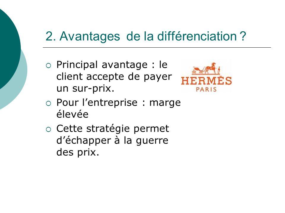 2.Avantages de la différenciation . Principal avantage : le client accepte de payer un sur-prix.