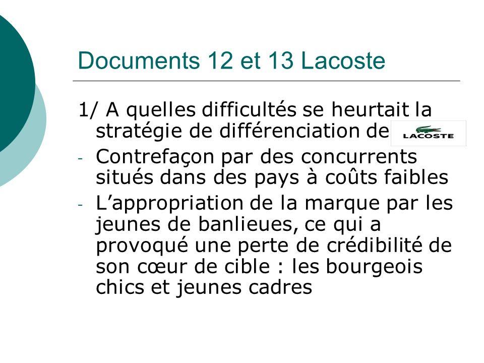 Documents 12 et 13 Lacoste 1/ A quelles difficultés se heurtait la stratégie de différenciation de - Contrefaçon par des concurrents situés dans des p