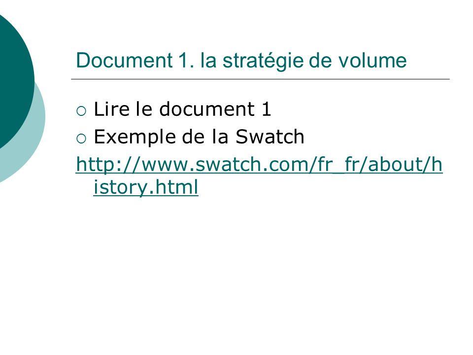 Document 1. la stratégie de volume Lire le document 1 Exemple de la Swatch http://www.swatch.com/fr_fr/about/h istory.html