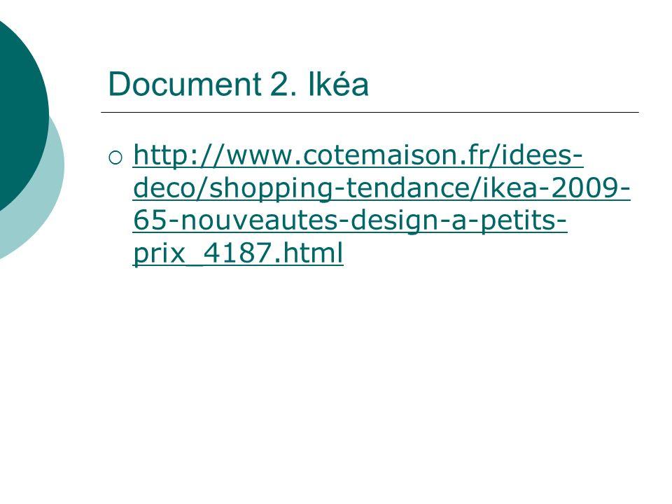 Document 2. Ikéa http://www.cotemaison.fr/idees- deco/shopping-tendance/ikea-2009- 65-nouveautes-design-a-petits- prix_4187.html http://www.cotemaison