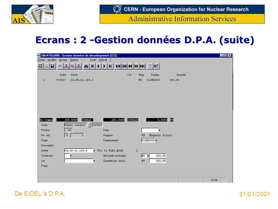 31/01/2001 De EIDEL à D.P.A. Ecrans : 2 -Gestion données D.P.A. (suite)