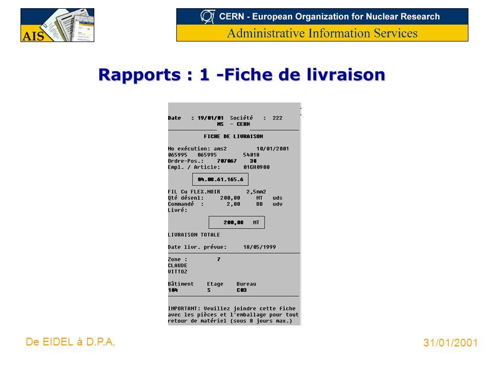 31/01/2001 De EIDEL à D.P.A. Rapports : 1 -Fiche de livraison