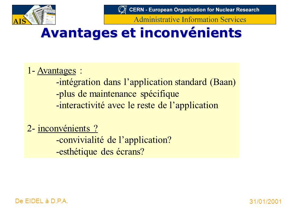 31/01/2001 De EIDEL à D.P.A. Avantages et inconvénients 1- Avantages : -intégration dans lapplication standard (Baan) -plus de maintenance spécifique