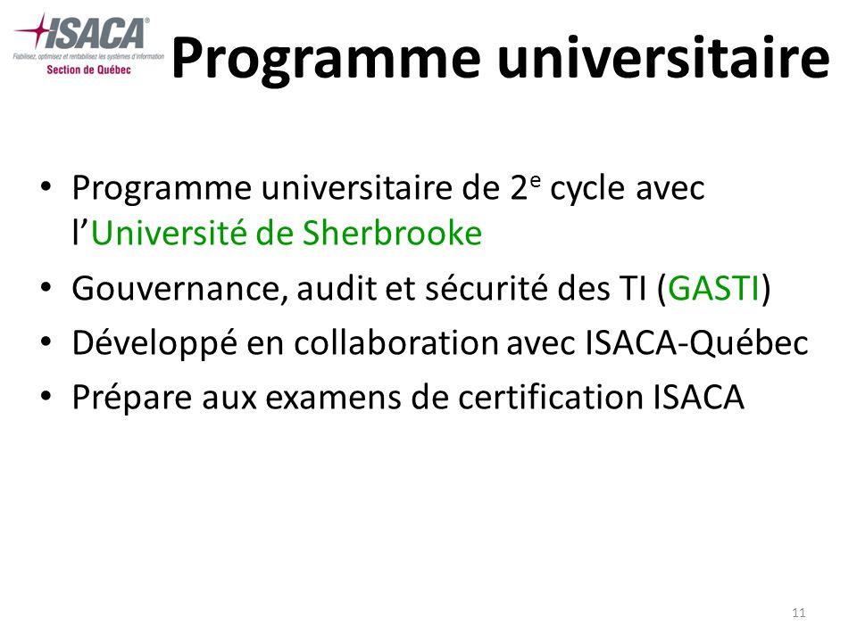 11 Programme universitaire Programme universitaire de 2 e cycle avec lUniversité de Sherbrooke Gouvernance, audit et sécurité des TI (GASTI) Développé