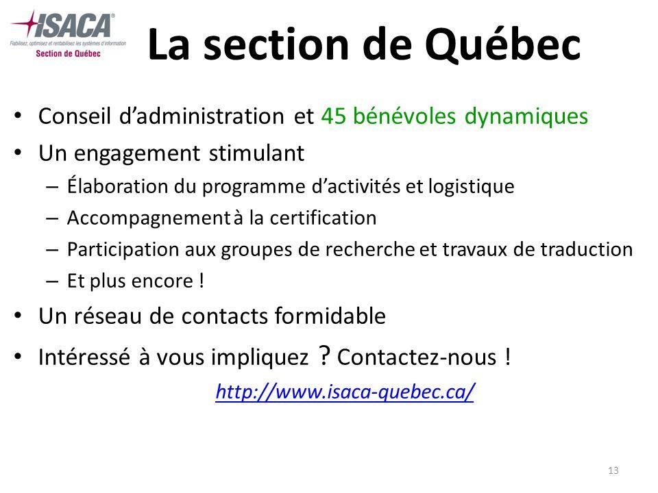 13 La section de Québec Conseil dadministration et 45 bénévoles dynamiques Un engagement stimulant – Élaboration du programme dactivités et logistique