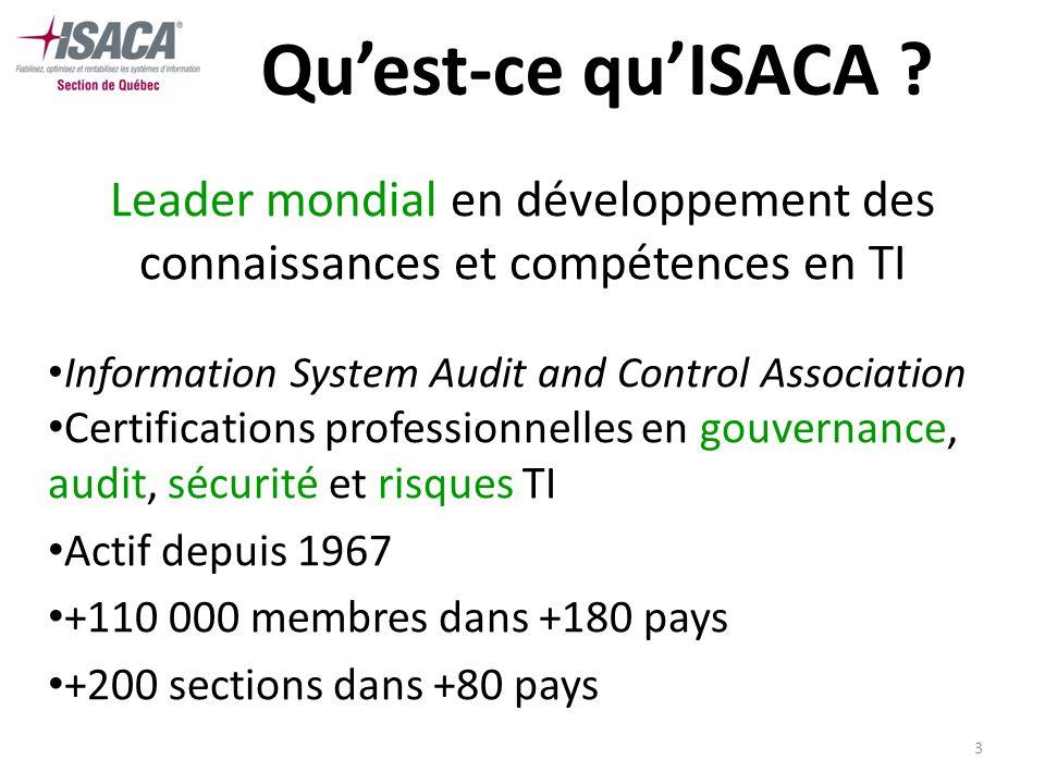 4 ISACA - Québec Section de lISACA dans la région de Québec Organisme sans but lucratif, actif depuis 1984 Mission : promouvoir le développement professionnel des membres et des organisations Près de 200 membres actifs À remporter le prix de meilleure section en Amérique du Nord 6 fois en 15 ans!