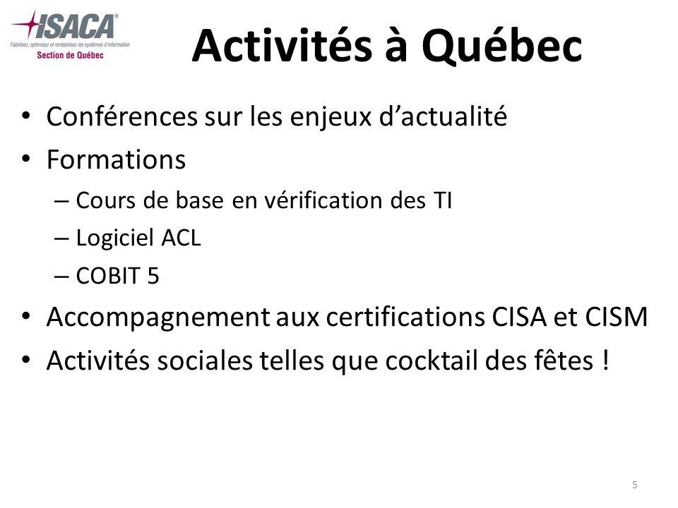5 Activités à Québec Conférences sur les enjeux dactualité Formations – Cours de base en vérification des TI – Logiciel ACL – COBIT 5 Accompagnement a