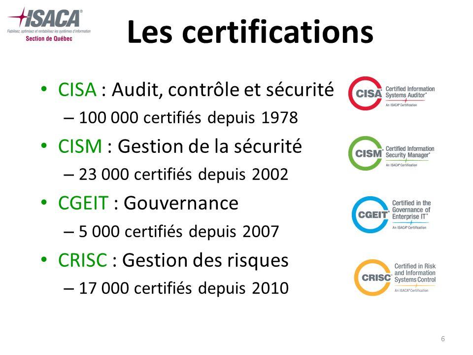 7 Les certifications Exigences Faire la preuve dune expérience appropriée Adhérer au code déthique de lISACA Réussir lexamen professionnel Se conformer au programme de formation continue
