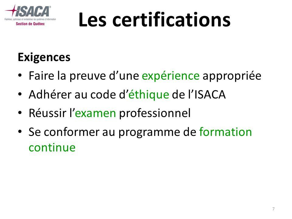 7 Les certifications Exigences Faire la preuve dune expérience appropriée Adhérer au code déthique de lISACA Réussir lexamen professionnel Se conforme