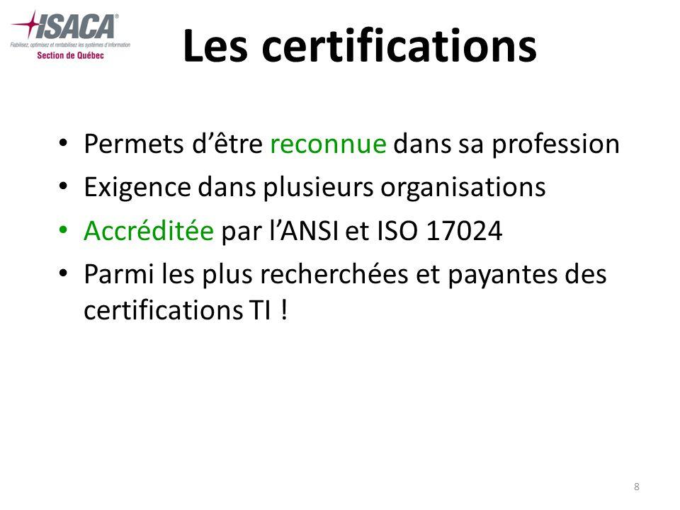 8 Les certifications Permets dêtre reconnue dans sa profession Exigence dans plusieurs organisations Accréditée par lANSI et ISO 17024 Parmi les plus