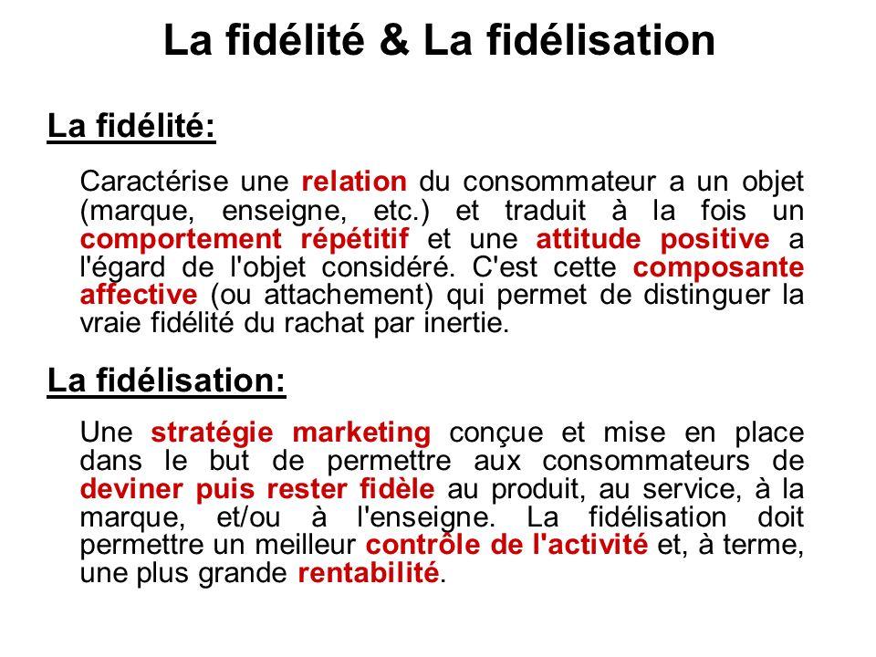 La fidélité & La fidélisation La fidélité: Caractérise une relation du consommateur a un objet (marque, enseigne, etc.) et traduit à la fois un comportement répétitif et une attitude positive a l égard de l objet considéré.