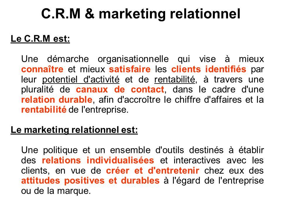 C.R.M & marketing relationnel Le C.R.M est: Une démarche organisationnelle qui vise à mieux connaître et mieux satisfaire les clients identifiés par l