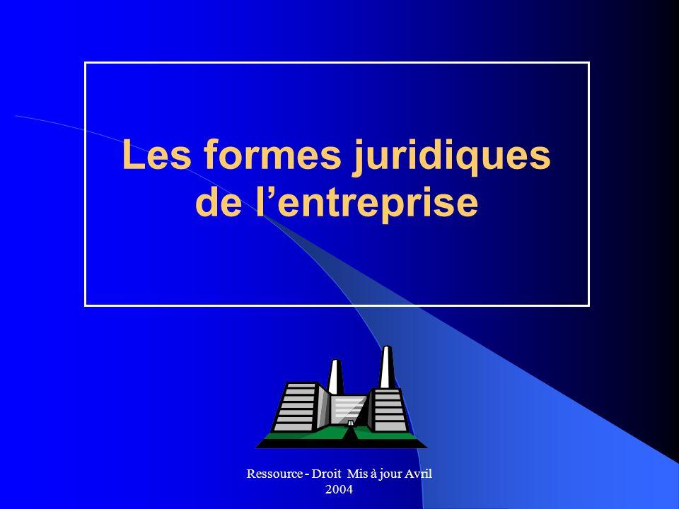 Ressource - Droit Mis à jour Avril 2004 Les formes juridiques de lentreprise