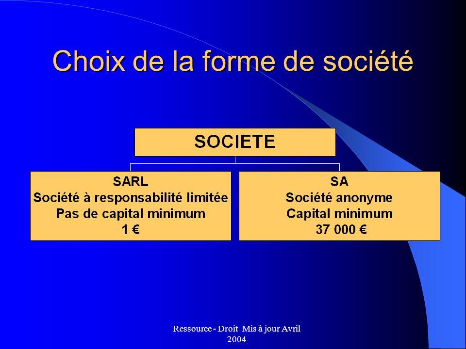 Ressource - Droit Mis à jour Avril 2004 Choix de la forme de société