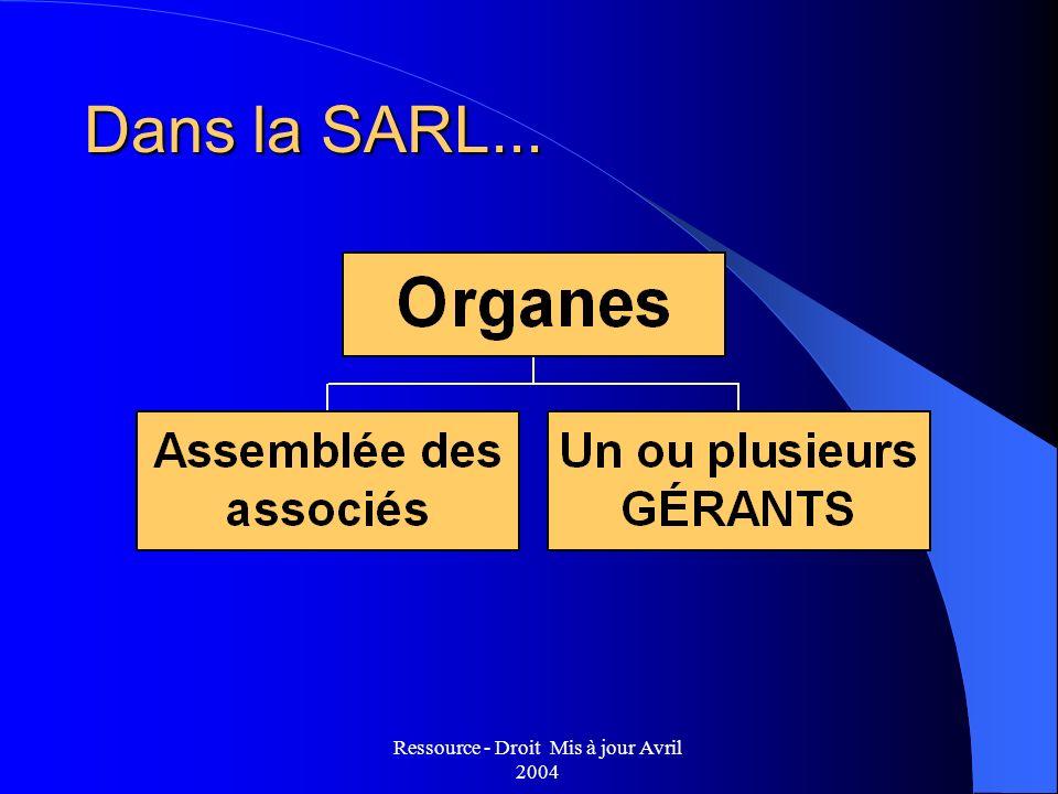 Ressource - Droit Mis à jour Avril 2004 Dans la SARL...