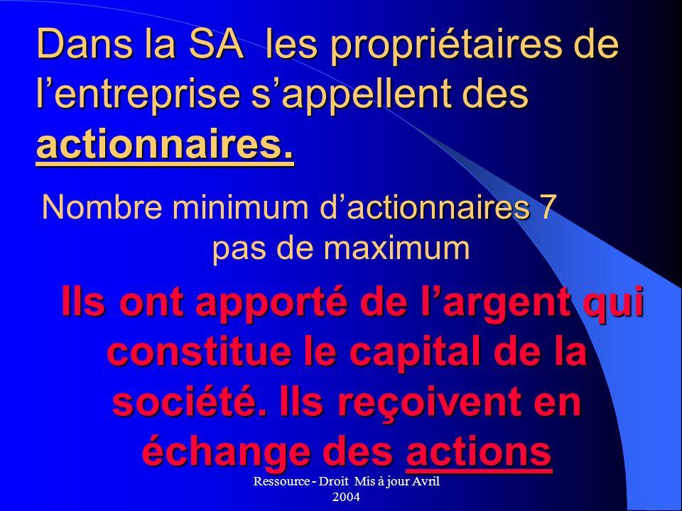 Ressource - Droit Mis à jour Avril 2004 Ils ont apporté de largent qui constitue le capital de la société. Ils reçoivent en échange des actions Ils on