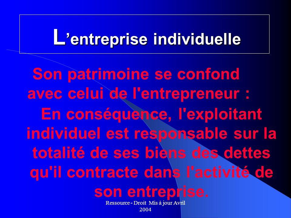 Ressource - Droit Mis à jour Avril 2004 L entreprise individuelle Son patrimoine se confond avec celui de l'entrepreneur : En conséquence, l'exploitan