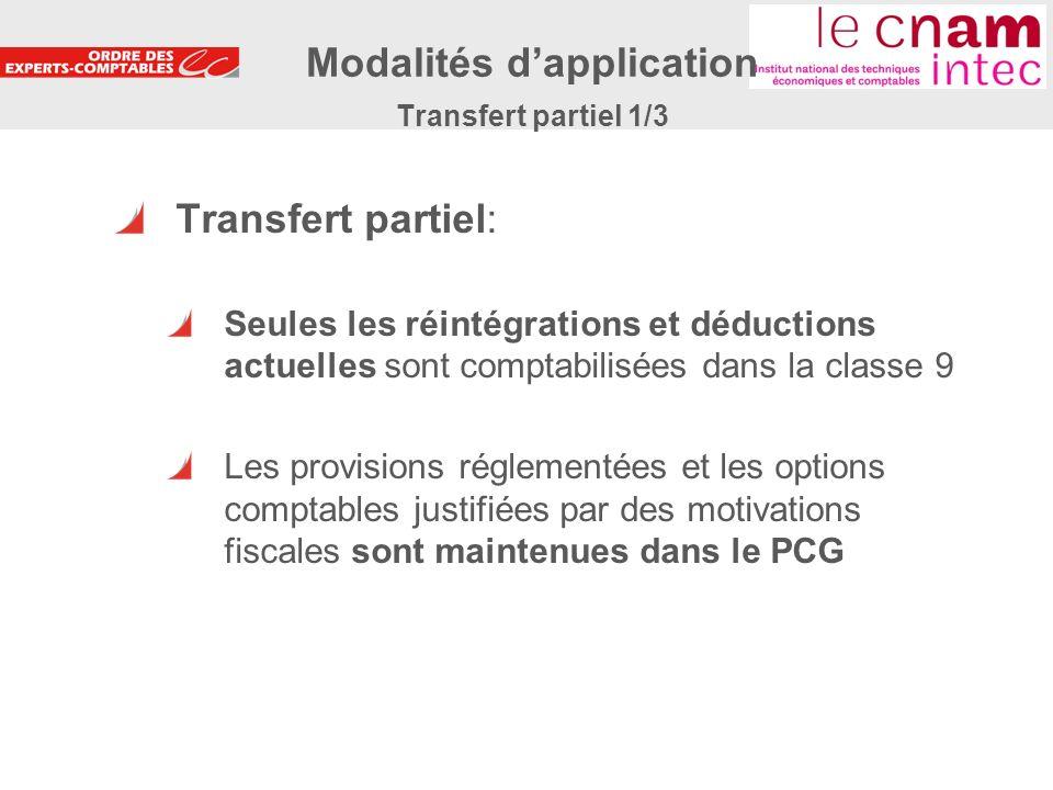 20 Transfert partiel: Seules les réintégrations et déductions actuelles sont comptabilisées dans la classe 9 Les provisions réglementées et les option