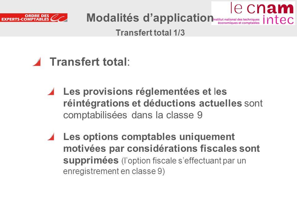 23 Transfert total: Les provisions réglementées et les réintégrations et déductions actuelles sont comptabilisées dans la classe 9 Les options comptab