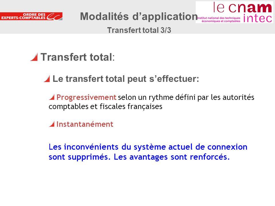 26 Transfert total: Le transfert total peut seffectuer: Progressivement selon un rythme défini par les autorités comptables et fiscales françaises Ins