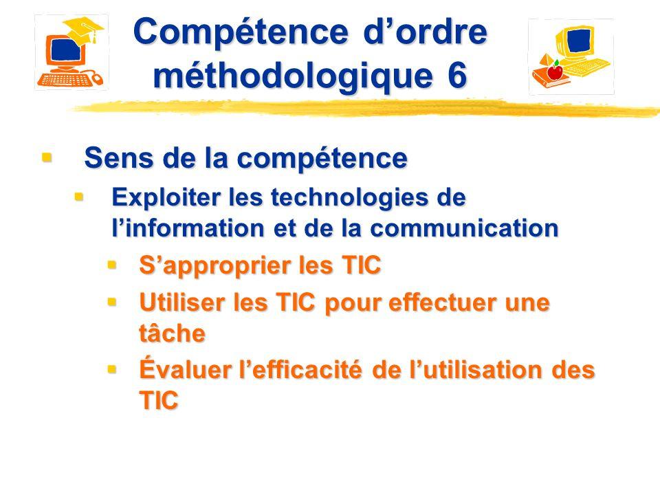 Au menu Compétence dordre méthodologique 6 Compétence dordre méthodologique 6 Avantages pédagogiques de lutilisation des TIC Avantages pédagogiques de