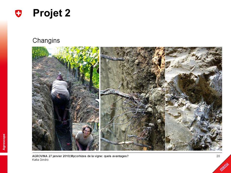 20 menu AGROVINA 27 janvier 2010| Mycorhizes de la vigne: quels avantages? Katia Gindro Projet 2 Changins