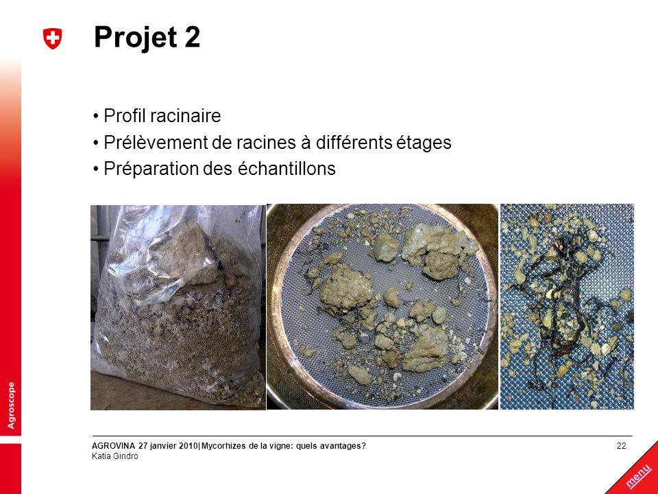 22 menu AGROVINA 27 janvier 2010| Mycorhizes de la vigne: quels avantages? Katia Gindro Projet 2 Profil racinaire Prélèvement de racines à différents