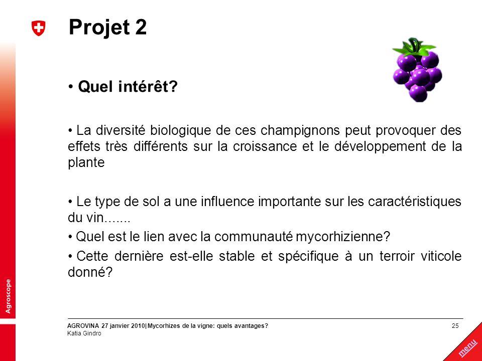 25 menu AGROVINA 27 janvier 2010| Mycorhizes de la vigne: quels avantages? Katia Gindro Projet 2 Quel intérêt? La diversité biologique de ces champign