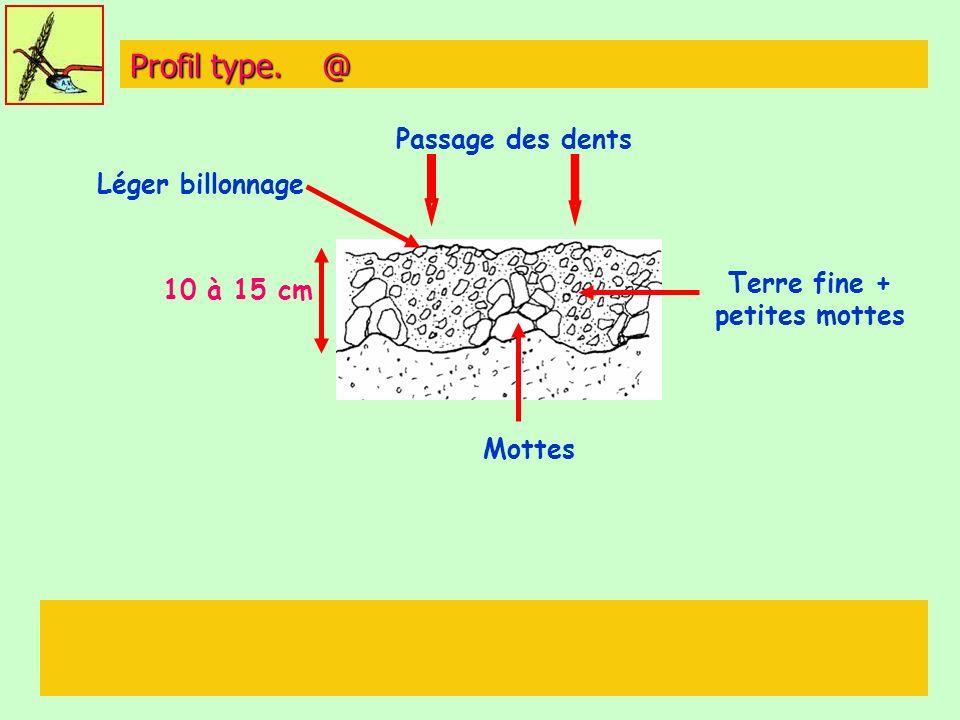 Profil type. @ Passage des dents Terre fine + petites mottes 10 à 15 cm Mottes Léger billonnage