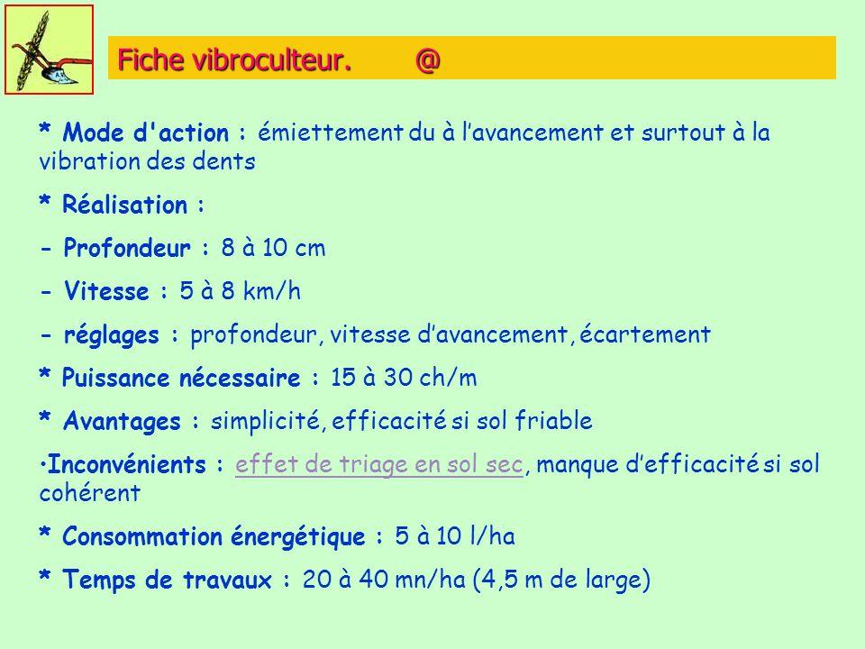 Fiche vibroculteur. @ * Mode d'action : émiettement du à lavancement et surtout à la vibration des dents * Réalisation : - Profondeur : 8 à 10 cm - Vi