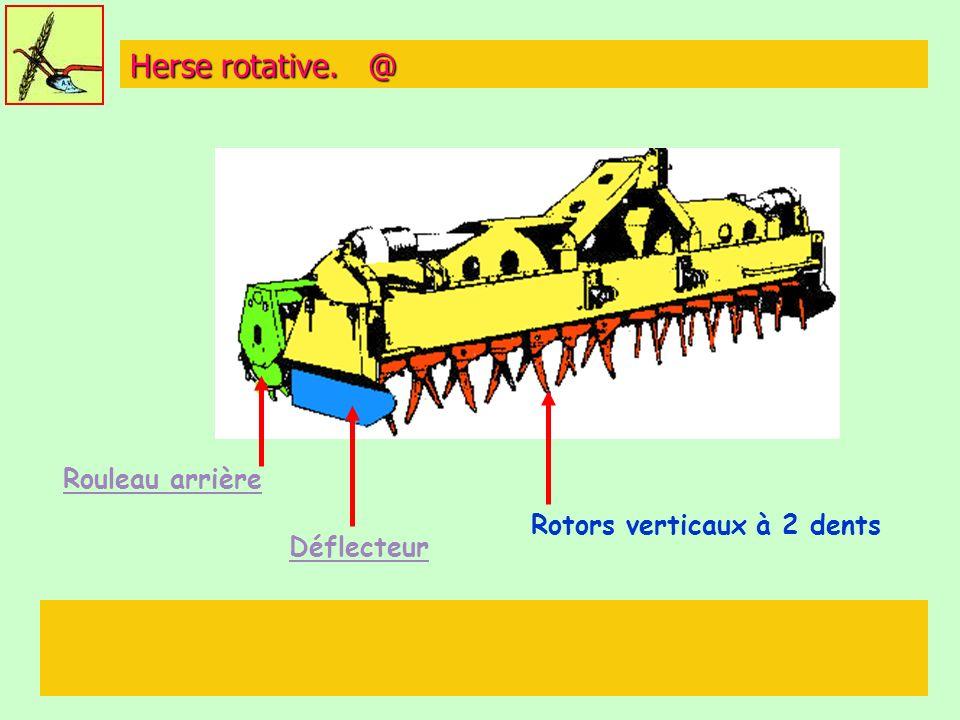 Herse rotative. @ Rouleau arrière Déflecteur Rotors verticaux à 2 dents