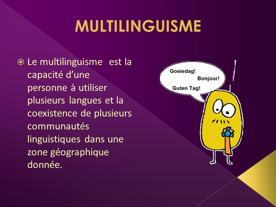 MULTILINGUISME Le multilinguisme est la capacité dune personne à utiliser plusieurs langues et la coexistence de plusieurs communautés linguistiques d