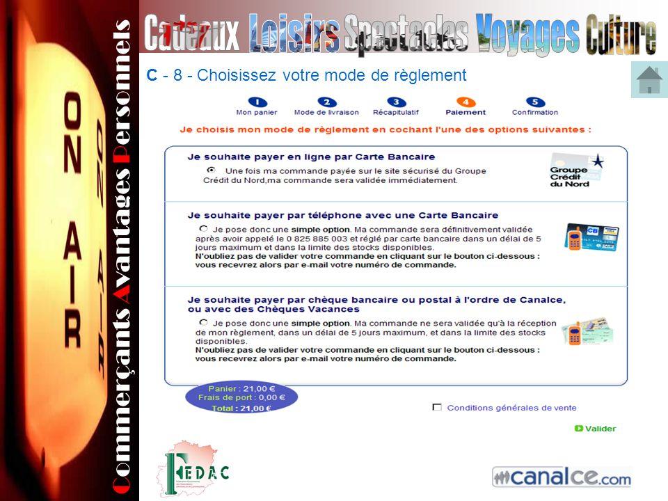 Commerçants Avantages Personnels C - 8 - Choisissez votre mode de règlement