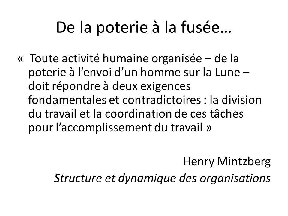 De la poterie à la fusée… « Toute activité humaine organisée – de la poterie à lenvoi dun homme sur la Lune – doit répondre à deux exigences fondamentales et contradictoires : la division du travail et la coordination de ces tâches pour laccomplissement du travail » Henry Mintzberg Structure et dynamique des organisations